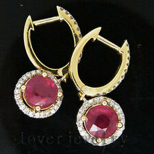 Jewelry Sets Round 6.5mm Solid 14Kt Yellow Gold Natural Diamond Ruby Earrings