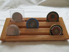 Military Challenge Coin/Chips Wood Display Holder 3 Tier->SMALL<-Maple Stained