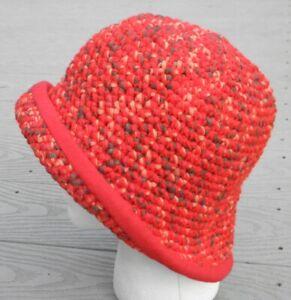 Gorgeus Sturdy Red Medium Size Crocheted Cloche - Handmade by Michaela