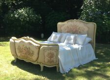 VINTAGE FRENCH DEMI CORBEILLE DOUBLE BED - TAPESTRY WITH CREAM CRACKLE FRAME