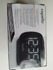 Capello Sleep and Charge Dual Alarm Clock with 2 USB Charging Ports Black