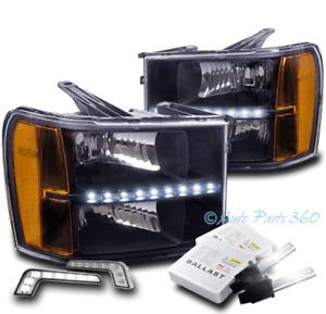 FOR 07-13 GMC SIERRA 1500 2500 3500 HD BLACK LED HEADLIGHT W/DRL LED+6K HID KIT