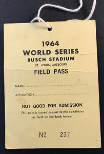 1964 World Series pass GM 7 Mickey Mantle Last HR/Hit #18 Tops Babe Ruth Record