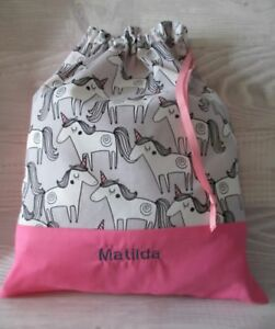 FREE NAME *Unicorns* Pink X-STRONG EMBROIDERED LIBRARY BAG KINDY DRAWSTRING GIFT