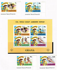Ghana World Scout Jamboree Norway Souvenir Sheet and stamps 1975 MNH