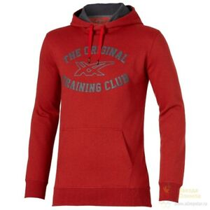 Asics Men's Sports Hoodie Long Sleeve Pullover Hoodie - Red - New