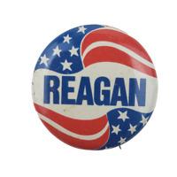 Ronald Reagan American Flag Political Campaign Pin Button Pinback