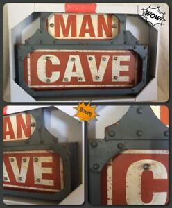 """Studio 350 """"Man Cave"""" Industrial Metal LED Wall Sign 18"""" wide 12"""" high NEW"""
