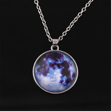 Fashion Glow in The Dark Moon Earth Pattern Round Pendant Necklace Jewelry Gift Purple