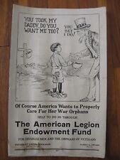 1925 Uncle Sam American Legion Ww1 Orphans Poster Calvin Coolidge James Drain
