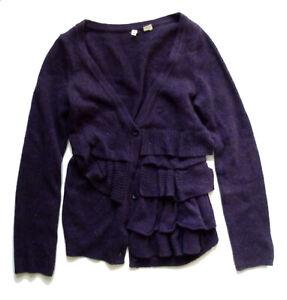 Anthropologie EUC Split Decision Cardigan by Moth - Purple Ruffled - SZ M