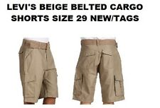 LEVI'S MEN'S CARGO SHORTS WITH BELT SIZE 29 NEW/TAGS (BELOW THE WAIST) BEIGE