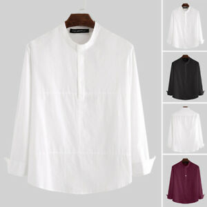 Mens Retro Long Sleeve Casual Shirts Loose Henley V-Neck Button Up Tops Blouse