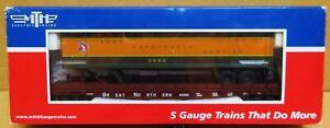 MTH 35-76005 Great Northern Flat Car #60252 w/48' Trailer (Smooth) S-Gauge NIB