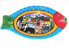 """FISH Plate Mexican Clay Pottery Folk Art Hand Painted From LOS CABOS 10"""""""