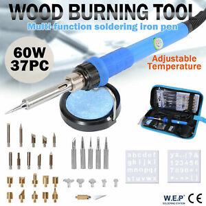 WEP 37pcs Pro 60W Soldering Iron Wood Burning Pen Kit Pyrography Craft Tool Tips