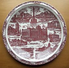 Vernon Kilns collector plate~Chicago Illinois~artist signed~Ultra maroon-Nr