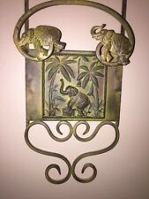 "Patina Metal UNIQUE Plate Holder Rack ELEPHANT BAMBOO Oriental Decor 36"" X 7"""