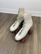 Vintage Roller Derby Roller Skates - Size 8 - White - Red Roller Star Wheels