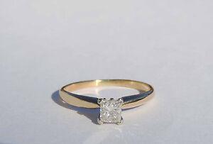 Ladies Princess Genuine Diamond Solitaire Ring - 0.33 Carat - 14k Yellow Gold