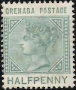 Grenada 1883 Queen Victoria  1/2d Dull Green  SG.30 Mint (Hinged)  Tone Spots