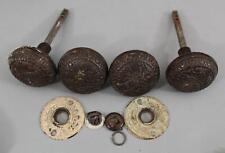 2 Sets 4 Antique Aesthetic Cast Iron Doorknobs, Doorplates Door Hardware