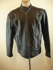 Mens L 42L Excelled Black Leather Motorcycle Jacket Cafe Racer & Insulated Liner