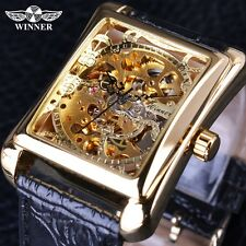 Winner Retro Casual Series Rectangle Dial Design Luxury Mechanical Casual Watch