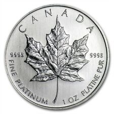 1 oz Platinum Maple Leaf (Canada) Canadian Random Year $50 BU