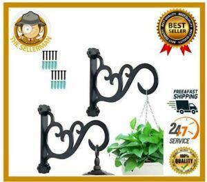 2Pcs Decorative Plant Hanger Bracket Cast Iron Wall Hook Hanging Flower Lanterns