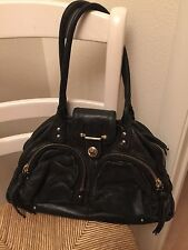 BOTKIER Bianca black leather satchel bag with two zippered pockets front