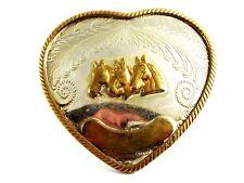 Vintage Western 3 Cabezas Caballo Corazón Plata Alemana Hebilla de Cinturón