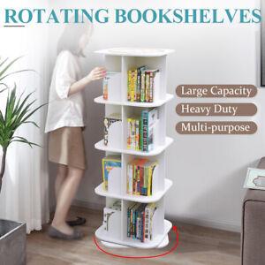 4 Tiers 360 Degrees Rotating Swivel Bookshelf Display Shelf White 128cm Square