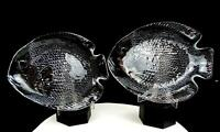 "ARCOROC FRANCE POISSON CLEAR 2 PIECE FISH SHAPED 10 1/4"" DINNER PLATES 1963-"