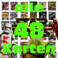 ■4€!!! Komplettsatz alle 48 Karten STAR WARS Sammelkarten Kaufland Karten Normal