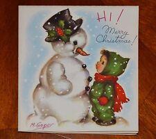 Vintage UNUSED Christmas Card SMALL CHILD & SNOWMAN Marjorie COOPER Rust Craft