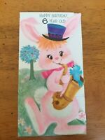 "Adorable Vintage Embossed Pink Bunny Rabbit Happy Birthday ""6"" Greeting Card"