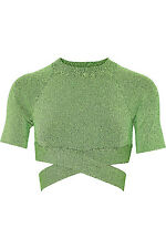 **T BY ALEXANDER WANG** Green Black Cropped Knit Top
