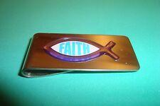"""Christian Fish Image Stainless Steel Money Clip """" Faith"""" 3D Violet-Blue Emblem"""