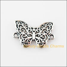 8Pcs Tibetan Silver Tone Animal Butterfly Charms Pendants Connectors 14x20mm