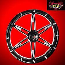 "Harley Davidson Road Glide 21"" Custom Front Wheel ""6ix Shooter"" Black Contrast"