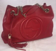 GUCCI Red Leather SOHO Tote Shoulder Bag w/Chain Straps