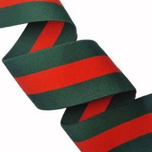 """Ribbon 1"""" (25mm) Elastic Stretch Trim 1 Yard (Green/Red Stripe)"""