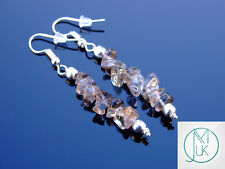 Smoky Quartz Natural Chip Gemstone Earrings Drop Quartz Crystal Chakra Healing