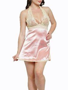 Women Deep V-Neck Lace Peach Cut Out Back Satin Babydoll Dress Nightwear Chemise