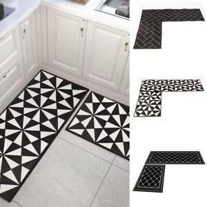 2PCS/Set Non Slip Door Mat Hallway Runner Bathroom Rug Kitchen Carpet Floor Mat