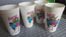 Set of 4 90's vintage BARBIE. Rock star. Soda tumblers. 1991. plastic.