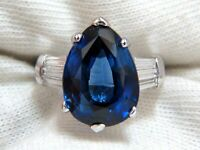 5.10 Ct Pear Cut Real Sapphire Diamond Engagement Ring 14K White Gold Size 6 A8