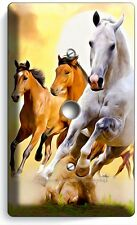 LIPIZZAN STALLION & MUSTANG HORSES LIGHT DIMMER VIDEO CABLE WALL PLATE ART COVER