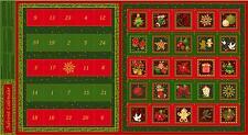 Seasons Greetings Advent Calendar 100% Cotton Quilting Panel Fabric